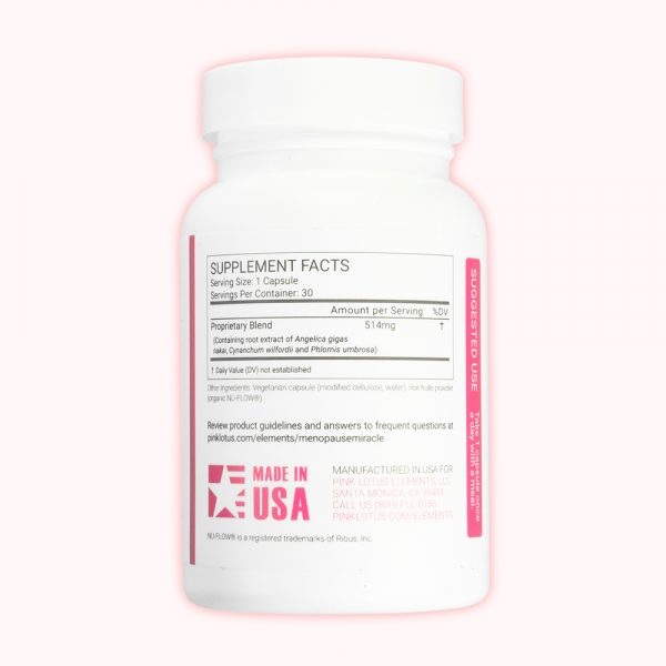 menopause miracle bottle back view