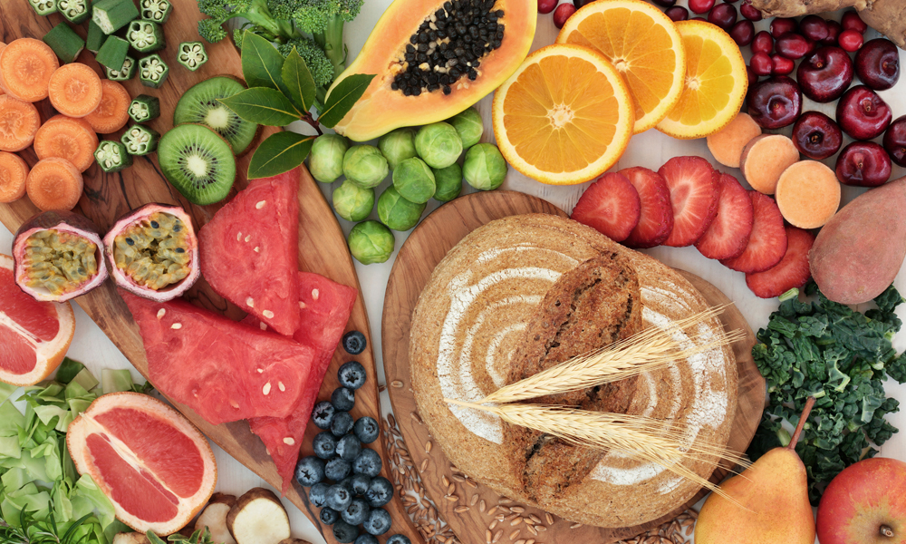 assortment of foods rich in fiber