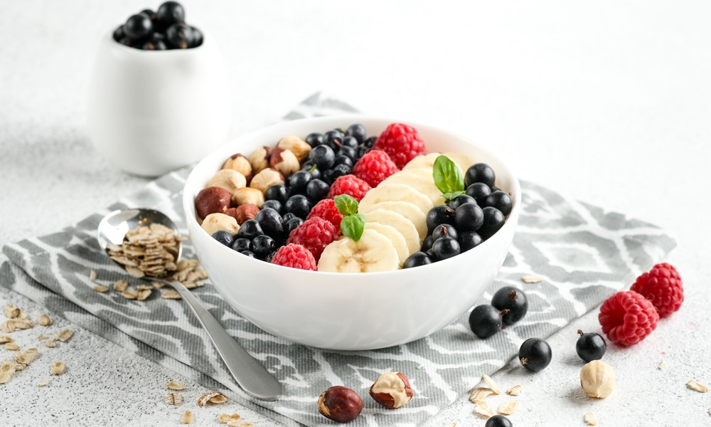 cancer kicking kitchen breakfast bowl with oats and berries